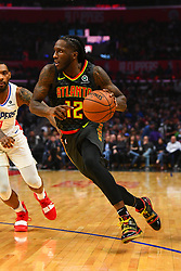 January 29, 2019 - Los Angeles, CA, U.S. - LOS ANGELES, CA - JANUARY 28: Atlanta Hawks Forward Taurean Prince (12) drives to the basket during a NBA game between the Atlanta Hawks and the Los Angeles Clippers on January 28, 2019 at STAPLES Center in Los Angeles, CA. (Photo by Brian Rothmuller/Icon Sportswire) (Credit Image: © Brian Rothmuller/Icon SMI via ZUMA Press)