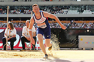 Greg Rutherford of Great Britain in the long jump during the Sainsbury's Anniversary Games at the Queen Elizabeth II Olympic Park, London, United Kingdom on 25th July 2015. Photo by Ellie Hoad.