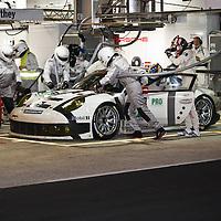 #91 Porsche 911 RSR, Porsche Team Manthey (drivers: Bergmeister, Pilet, Tandy) GTE Pro, during a pit stop at Le Mans 24H, 2014 (Saturday, 14 June)