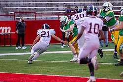 16 April 2021: Champaign Central Maroons at University High Pioneers at Hancock Stadium for a boys football game <br /> <br /> <br /> 21