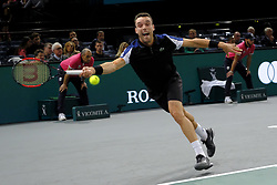 October 29, 2018 - Paris, France - ROBERTO BAUTISTA (ESP) returns the ball to US player Steve Johnson during the tournament Rolex Paris Master at Paris AccorHotel Arena Stadium in Paris France. Bautista won 6-4 7-6. (Credit Image: © Pierre Stevenin/ZUMA Wire)