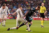 Real Madrid's Carlos Henrique Casemiro and Real Sociedad's David Zurutuza during La Liga match between Real Madrid and Real Sociedad at Santiago Bernabeu Stadium in Madrid, Spain. January 29, 2017. (ALTERPHOTOS/BorjaB.Hojas)