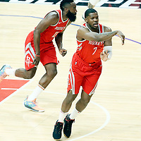 28 February 2018: Houston Rockets guard Joe Johnson (7) passes the ball next to Houston Rockets guard James Harden (13) during the Houston Rockets 105-92 victory over the LA Clippers, at the Staples Center, Los Angeles, California, USA.