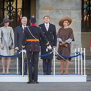 NLD/Amsterdam/20161128 - Belgisch Koningspaar start staatsbezoek aan Nederland, Koning Willem Alexander en Koning Filipen Koningin Maxima en Koningin Mathilde