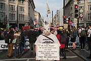 April, 18th, 2019 - London, Greater London, United Kingdom: White Rabbit at Oxford Circus. Demonstration against Climate Crisis. Extinction Rebellion is demanding the UK government takes urgent action on climate change and wildlife declines. Extinction Rebellion activists disrupt traffic around famous London Landmarks. Thousands of protesters  converging on central hubs including Oxford Circus and Parliament Square. Nigel Dickinson/Polaris