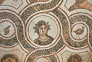 Picture of a Roman mosaics design depicting one of the Four Seasons, from the ancient Roman city of Thysdrus. 3rd century AD. El Djem Archaeological Museum, El Djem, Tunisia. .<br /> <br /> If you prefer to buy from our ALAMY PHOTO LIBRARY Collection visit : https://www.alamy.com/portfolio/paul-williams-funkystock/roman-mosaic.html . Type - El Djem - into the LOWER SEARCH WITHIN GALLERY box. Refine search by adding background colour, place, museum etc<br /> <br /> Visit our ROMAN MOSAIC PHOTO COLLECTIONS for more photos to download as wall art prints https://funkystock.photoshelter.com/gallery-collection/Roman-Mosaics-Art-Pictures-Images/C0000LcfNel7FpLI