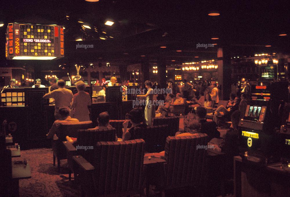 Las Vegas Casino interior shot, The Frontier Hotel & Casino. July 1973. Casino interior lighting was much dimmer then.