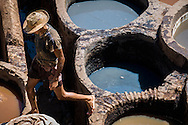 Leather tannery in the Medina, Fes, Morocco