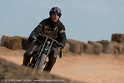 Rhett Rotten racing in the Sons of Speed vintage race series at the Full Throttle Saloon during the 78th annual Sturgis Motorcycle Rally. Sturgis, SD. USA. Thursday August 9, 2018. Photography ©2018 Michael Lichter.