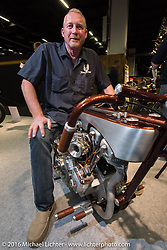Larry Moore on his Moore Customs (Wichita, Kansas) Kontrolled Kaos 74 cubic inch Harley-Davidson custom on display in the AMD World Championship of Custom Bike Building in the custom themed Hall 10 at the AMD World Championship of Custom Bike Building show in the custom dedicated Hall 10 at the Intermot Motorcycle Trade Fair. Cologne, Germany. Saturday October 8, 2016. Photography ©2016 Michael Lichter.