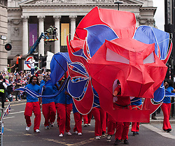 © Licensed to London News Pictures. 10/09/2012. LONDON, UK. A lion in the colours of the British Olympic Team is seen near Bank Station in London today (10/09/12) as it leads a parade of British Athletes who competed in the London 2012 Olympic and Paralympic Games. Photo credit: Matt Cetti-Roberts/LNP