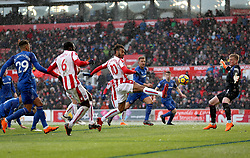 Stoke City's Eric Maxim Choupo-Moting (centre) scores his side's first goal of the game
