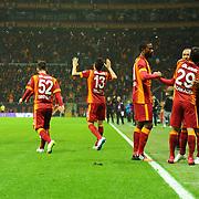 Galatasaray's Umut Bulut (R) celebrate his goal with team mate during their Turkish Super League soccer match Galatasaray between Bursaspor at the AliSamiYen Spor Kompleksi TT Arena at Seyrantepe in Istanbul Turkey on Sunday, 01 February 2015. Photo by Batuhan AKICI/TURKPIX