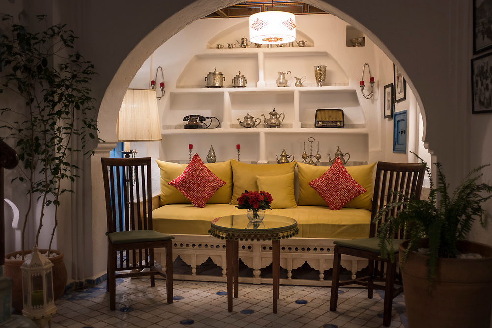 CHEFCHAOUEN, MOROCCO - CIRCA APRIL 2017:  Interior decorations of the traditional Riad Cherifa in Chefchaouen.