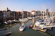 the marina in Vlissingen, Michiel de Ruijterhaven, Walcheren, Zeeland, Netherlands.<br /> <br /> der Yachthafen von Vlissingen, Michiel de Ruijterhaven, Walcheren, Zeeland, Niederlande.