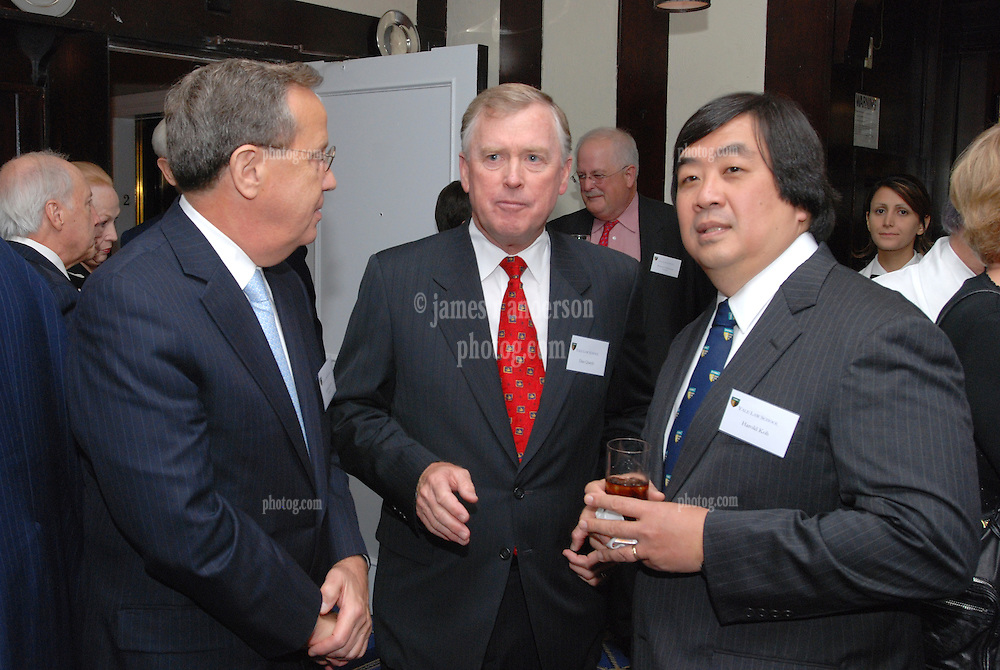 "Richard Levin, Dan Quayle and Harold Hongju Koh at the Maurice R. ""Hank"" Greenberg Reception, 21 Club NYC 18 Sept 2007. Honoring the endowment of the David Boies Professorship of Law at Yale Law School."