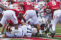 FAYETTEVILLE, AR - OCTOBER 24:  Peyton Barber #25 of the Auburn Tigers rushes for a touchdown in overtime against the Arkansas Razorbacks at Razorback Stadium Stadium on October 24, 2015 in Fayetteville, Arkansas.  The Razorbacks defeated the Tigers in 4 OT's 54-46.  (Photo by Wesley Hitt/Getty Images) *** Local Caption *** Peyton Barber