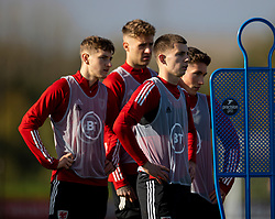 CARDIFF, WALES - Wednesday, October 7, 2020: Wales' Ben Davies, Joe Rodon, Ben Woodburn and Harry Wilson during a training session at the Vale Resort ahead of the International Friendly match against England. (Pic by David Rawcliffe/Propaganda)