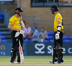 Gloucestershire's Ian Cockbain with team-mate Michael Klinger<br /> <br /> Photographer Simon King/Replay Images<br /> <br /> Vitality Blast T20 - Round 8 - Glamorgan v Gloucestershire - Friday 3rd August 2018 - Sophia Gardens - Cardiff<br /> <br /> World Copyright © Replay Images . All rights reserved. info@replayimages.co.uk - http://replayimages.co.uk
