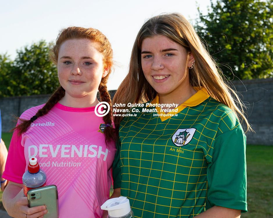 20-07-21. Meath v Down - All-Ireland U-20 B (Richie McElligott Cup) Semi-Final at Clan na Gael, Dundalk.<br /> Rea Pender (Left) and Katie Cottrell from Dunsany were in Dundalk supporting Meath.<br /> Photo: John Quirke / www.quirke.ie<br /> ©John Quirke Photography, 16 Proudstown Road, Navan. Co. Meath. (info@quirke.ie / 046-9028461 / 087-2579454).