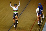 Women Omnium, Kirsten Wild (Netherlands)gold medal, Katie Archibald (Great Britain), Letizia Paternoster (Italy) during the Track Cycling European Championships Glasgow 2018, at Sir Chris Hoy Velodrome, in Glasgow, Great Britain, Day 5, on August 6, 2018 - Photo luca Bettini / BettiniPhoto / ProSportsImages / DPPI<br /> - Restriction / Netherlands out, Belgium out, Spain out, Italy out -