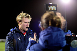 Jordan Crane of Bristol Rugby is interviewed by the media - Mandatory by-line: Dougie Allward/JMP - 30/12/2017 - RUGBY - The Athletic Ground - Richmond, England - Richmond v Bristol Rugby - Greene King IPA Championship
