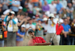 USA's Tiger Woods chips out of a bunker on the 8th during day four of The Open Championship 2018 at Carnoustie Golf Links, Angus. PRESS ASSOCIATION Photo. Picture date: Sunday July 22, 2018. See PA story GOLF Open. Photo credit should read: David Davies/PA Wire. RESTRICTIONS: Editorial use only. No commercial use. Still image use only. The Open Championship logo and clear link to The Open website (TheOpen.com) to be included on website publishing.