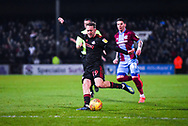 Aidan McGeady of Sunderland (19) takes a shot from outside the box during the EFL Sky Bet League 1 match between Scunthorpe United and Sunderland at Glanford Park, Scunthorpe, England on 19 January 2019.