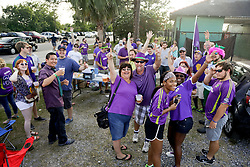 09 May 2015. New Orleans, Louisiana.<br /> Supporters from the Royal Court the New Orleans Jesters season opener at the Pan American Stadium against Jacksonville United. Jacksonville win 2-1 in a tense game.<br /> Photo; Charlie Varley/varleypix.com