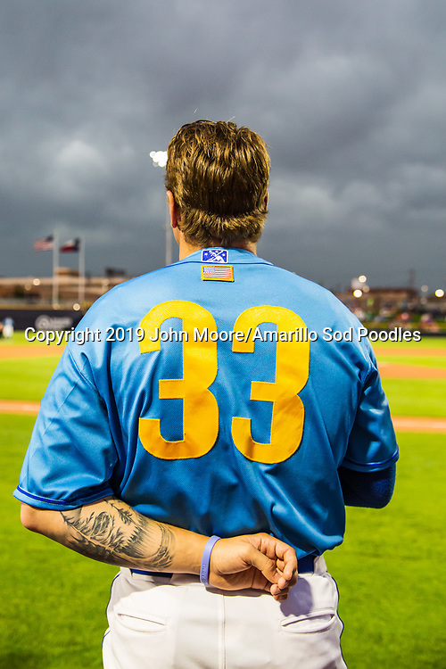 Amarillo Sod Poodles pitcher Lake Bachar (33) before the game against the Tulsa Drillers on Saturday, June 15, 2019, at HODGETOWN in Amarillo, Texas. [Photo by John Moore/Amarillo Sod Poodles]