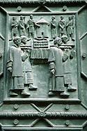 Detail of bronze door - Hradcany St. Vitus cathedral - Castle area - Prague Czech Republic