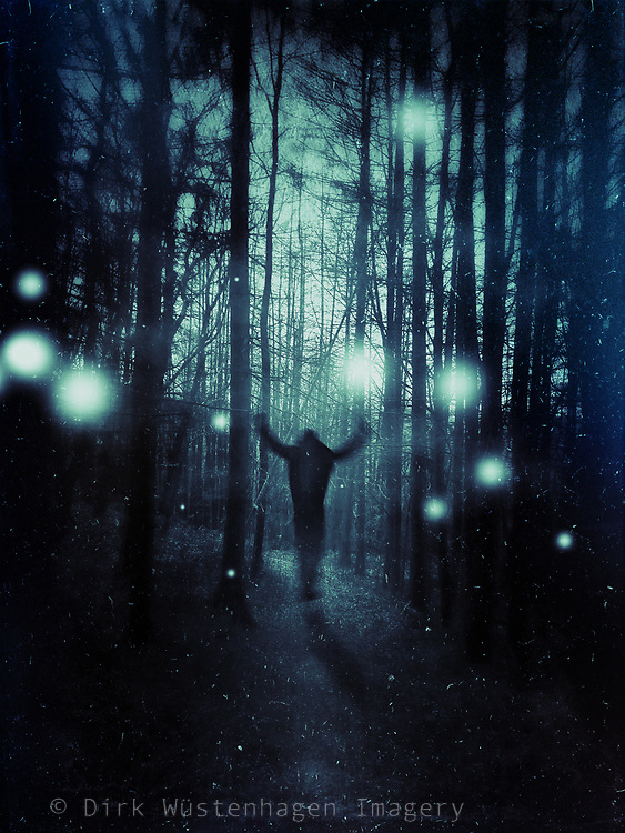 silhouette of a man in a mystical forest....