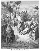 Jesus Healing the Lunatic or Jesus Heals the Epilectic Demoniac [Matthew 17:14-15] From the book 'Bible Gallery' Illustrated by Gustave Dore with Memoir of Dore and Descriptive Letter-press by Talbot W. Chambers D.D. Published by Cassell & Company Limited in London and simultaneously by Mame in Tours, France in 1866