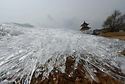 MISHAN, April 15, 2016 <br /> <br /> Photo shows ice crystals along the Xingkai Lake, border lake between China and Russia, in Mishan, northeast China's Heilongjiang Province. <br /> ©Exclusivepix Media
