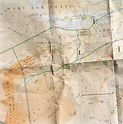 Detail of a Libyan map showing the proposed route of an off-road expedition through Libya