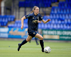 """Manchester United Women's Lizzie Arnot in action during the Continental Tyres Cup, Group Two North match at Prenton Park, Birkenhead. PRESS ASSOCIATION Photo. Picture date: Sunday August 19, 2018. See PA story SOCCER Liverpool Women. Photo credit should read: Clint Hughes/PA Wire. RESTRICTIONS: EDITORIAL USE ONLY No use with unauthorised audio, video, data, fixture lists, club/league logos or """"live"""" services. Online in-match use limited to 120 images, no video emulation. No use in betting, games or single club/league/player publications."""