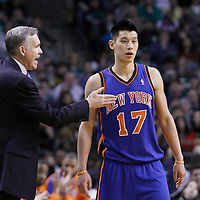 04 March 2012: New York Knicks head coach Mike D'Antoni talks to New York Knicks point guard Jeremy Lin (17) during the Boston Celtics 115-111 (OT) victory over the New York Knicks at the TD Garden, Boston, Massachusetts, USA.
