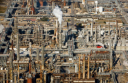 Aerial view of a refinery's piping network