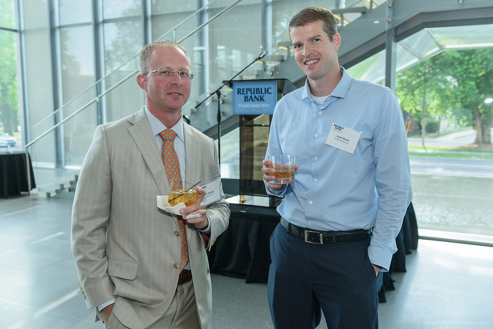 Brian Waltrip and Scott Groan at the 10-year anniversary celebration of Republic Bank's Private Banking and Business Banking divisions Wednesday, May 17, 2017, at the Speed Art Museum in Louisville, Ky. (Photo by Brian Bohannon)