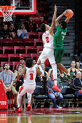 NORMAL, IL - December 16: Zach Copeland elevates to attempt a shot block on a toss by Tyree Appleby during a college basketball game between the ISU Redbirds and the Cleveland State Vikings on December 16 2018 at Redbird Arena in Normal, IL. (Photo by Alan Look)