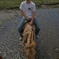 MONGOLIA. Nick Wiltsie rides horse across stream in Darhad Valley.