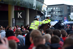 Police presence outside the Emirates Stadium prior to the match