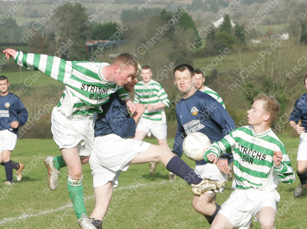 Action from the clash between Bridge Celtic and Mountshannon Celtic at Scariff on Sunday shows Mountshannon's  Robbie Cahill and Andrew McNamara in a clash with Barry O'Connor and Paul McEvoy Bridge Celtic.<br /> Picture: Press 22