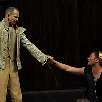 Zsolt Laszlo (L) as Edgar and Andras Stohl (R) as Edmund in William Shakespeare's King Lear premiere in Hungarian National Theatre directed by Laszlo Bocsardi. Budapest, Hungary. Wednesday 07 February 2007. ATTILA VOLGYI