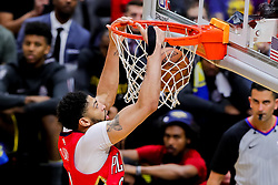 May 6, 2018 - New Orleans, LA, U.S. - NEW ORLEANS, LA - MAY 06:  New Orleans Pelicans forward Anthony Davis (23) dunks the ball against Golden State Warriors during game 4 of the NBA Western Conference Semifinals at Smoothie King Center in New Orleans, LA on May 06, 2018.  (Photo by Stephen Lew/Icon Sportswire) (Credit Image: © Stephen Lew/Icon SMI via ZUMA Press)