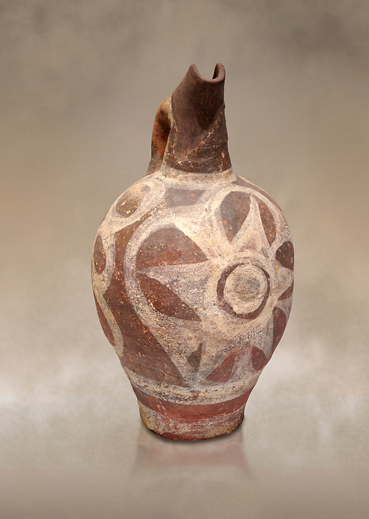 Minoan decorated Kamares  style jug with star design, Poros cemetery 1800-1650 BC; Heraklion Archaeological  Museum. .<br /> <br /> If you prefer to buy from our ALAMY PHOTO LIBRARY  Collection visit : https://www.alamy.com/portfolio/paul-williams-funkystock/minoan-art-artefacts.html . Type -   Heraklion   - into the LOWER SEARCH WITHIN GALLERY box. Refine search by adding background colour, place, museum etc<br /> <br /> Visit our MINOAN ART PHOTO COLLECTIONS for more photos to download  as wall art prints https://funkystock.photoshelter.com/gallery-collection/Ancient-Minoans-Art-Artefacts-Antiquities-Historic-Places-Pictures-Images-of/C0000ricT2SU_M9w