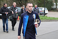 AFC Wimbledon midfielder Dylan Connolly (16) arrivingduring the EFL Sky Bet League 1 match between AFC Wimbledon and Barnsley at the Cherry Red Records Stadium, Kingston, England on 19 January 2019.