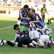 Trabzonspor's players celebrate victory during their Turkey Cup final match Trabzonspor between Fenerbahce at the GAP Arena Stadium at Urfa Turkey on wednesday, 05 May 2010. Photo by TURKPIX