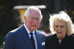 The Prince of Wales and the Duchess of Cornwall visit the gardens of Marlborough House, London, to view the flowers and messages left by members of the public outside Buckingham Palace following the death of the Duke of Edinburgh on April 10. Picture date: Thursday April 15, 2021.