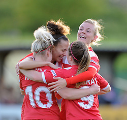 Bristol Academy players celebrate Nikki Watts equalising against Arsenal Ladies - Photo mandatory by-line: Paul Knight/JMP - Mobile: 07966 386802 - 09/05/2015 - SPORT - Football - Bristol - Stoke Gifford Stadium - Bristol Academy Women v Arsenal Ladies FC - FA Women's Super League